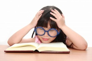 Girl struggling to understand what she's reading